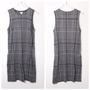 J Jill Gray Ponte Knit Plaid Print Tank Dress
